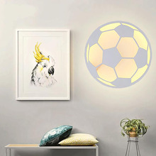 Creative Cartoon Modern Simple led wall lamp study / bedroom / bedside / aisle / staircase / apple & soccer acrylic wall lamp(China)
