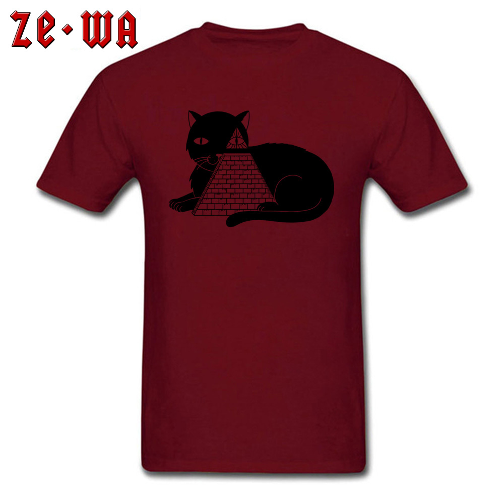Fashionable Cat Illuminati Classic Short Sleeve T-Shirt Father Day Crew Neck Pure Cotton Tees for Men Tops T Shirt Gift Cat Illuminati maroon