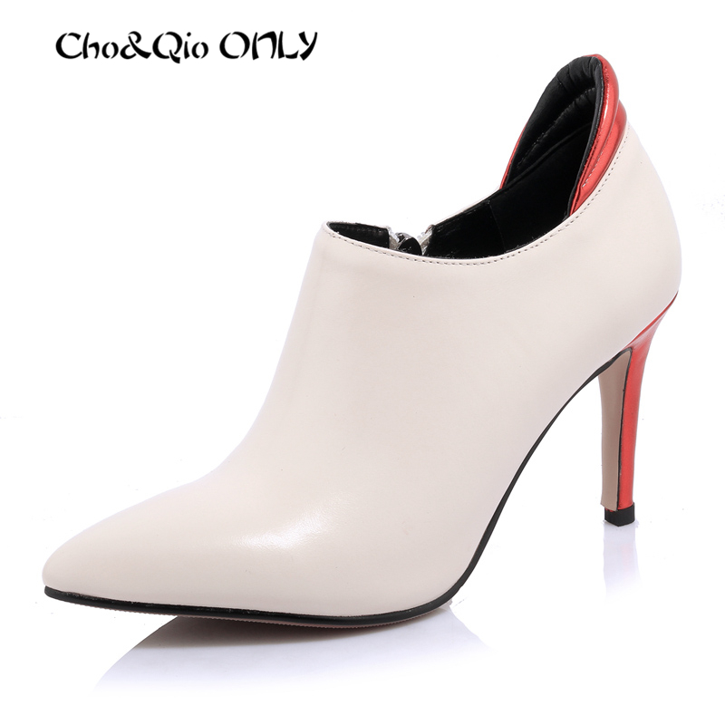 Winter Women Shoes High Heel Pumps 2016 European Pointed Cross Tied Leather Boots Women Elegant Ladies Shoes Black White<br><br>Aliexpress