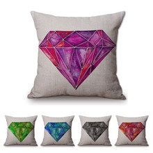Nordic Hand Drawing Big Diamond Pink Purple Sofa Decorative Pillow Cover Cotton Linen Colorful Design Cushion Cover 45x45cm(China)