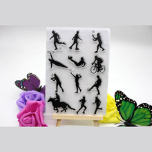 1pc Sports People Design Silicone Transparent Clear Stamp DIY Scrapbooking Card Making Photo Album Decoration Supplies