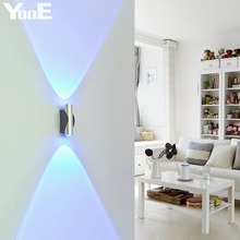 YooE 2W LED Wall Lamp AC110V/220V Acrylic Aluminum Indoor Wall Sconce Lighting bedroom LED Wall Light Cold/Warm White /Yellow(China)