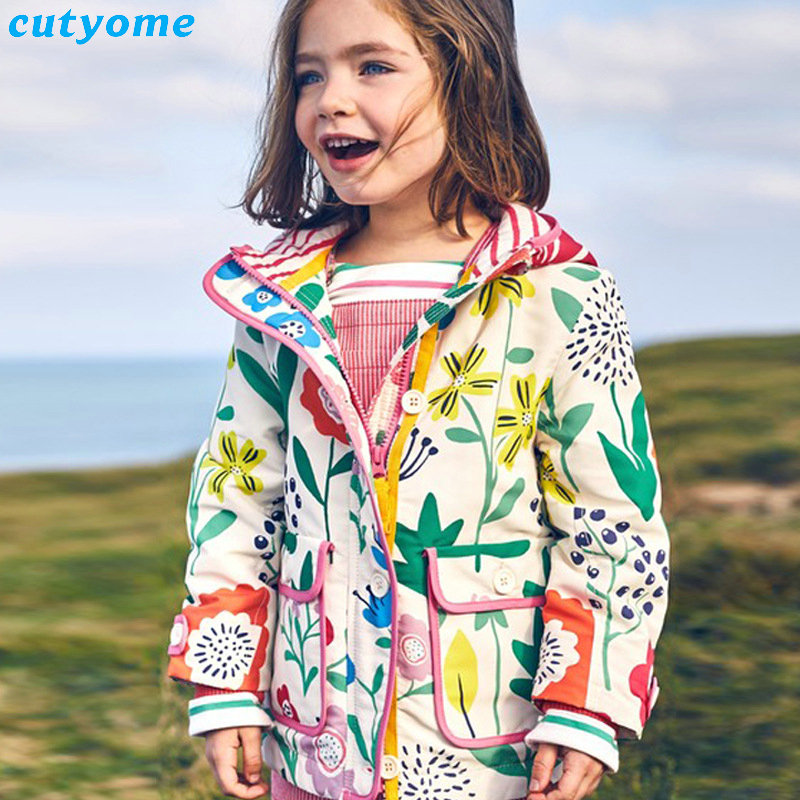 Autumn Winter Jackets For Girls Hooded Floral Rainbow Windbreaker Coats Clothing For Toddler Baby Boys Girls Trench Outerwear<br>