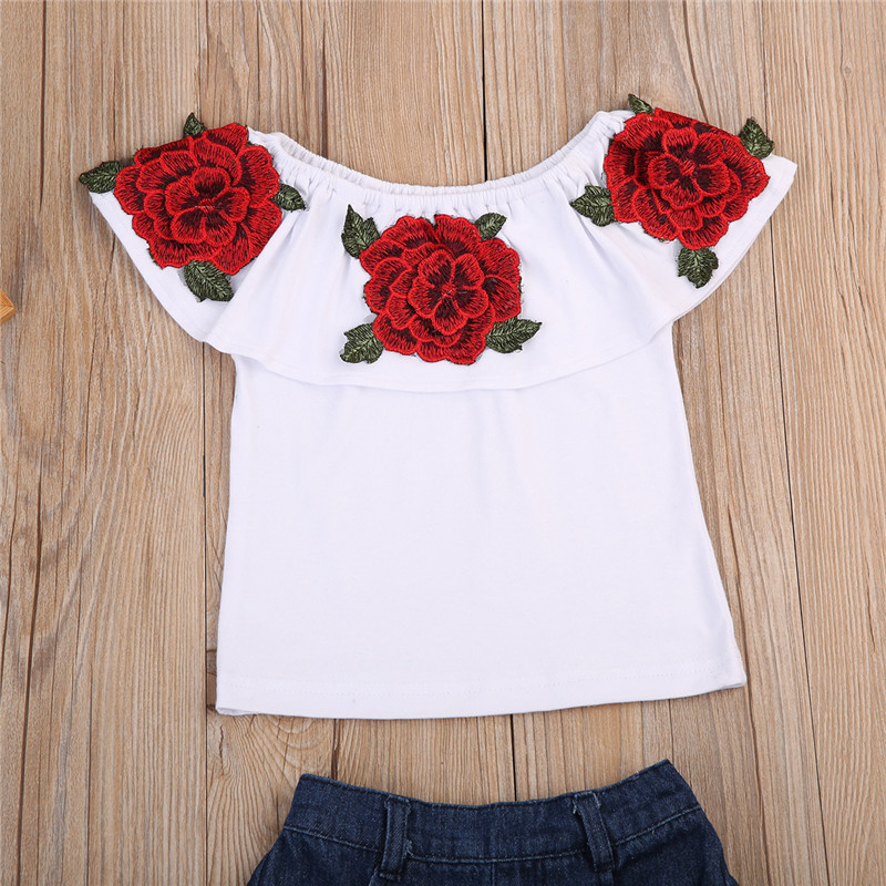 Pudcoco 2018 Toddler Kids Baby Girls Clothes Set Embroidery 3D Flower Ruffle Cold Shoulder Tops Shirt+Shorts Summer Outfits 1-6Y