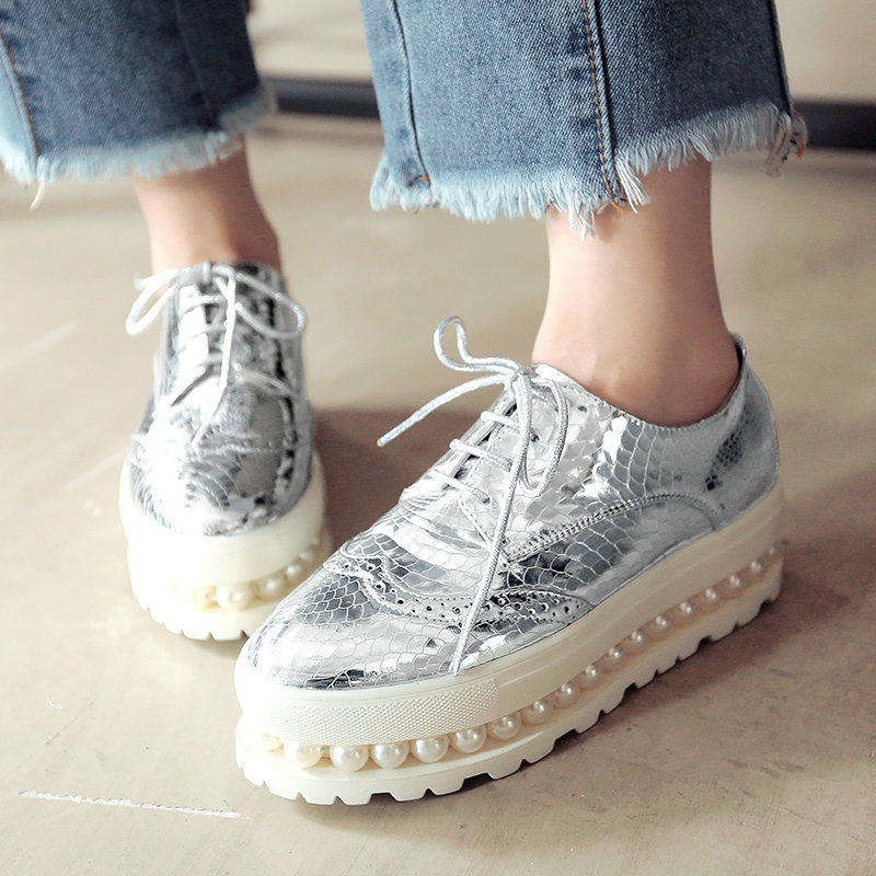 AIWEIYi Shoes Women Pink Silver Lace up Loafers Woman Platform Flat Shoe Pearl Thick Heel Comfortable Shoes for Women Size 34-43<br><br>Aliexpress