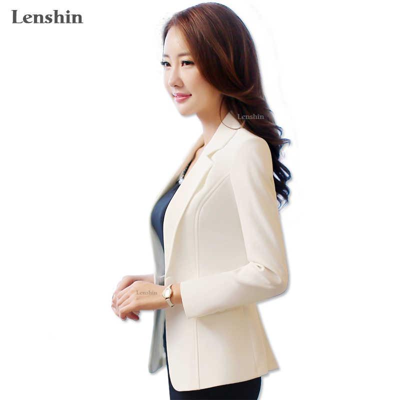 6dd076d85ba3 Lenshin новые модные женские туфли Белый Блейзер Куртка карамельный цвет  пальто куртки одной кнопки верхняя одежда