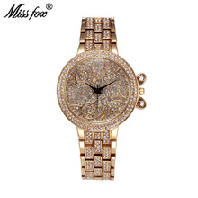 Miss Fox 37mm Lucky Clouds Role Watches Women Gold Full Diamond Sobretudo Feminino Bu Rhinestone Luxury Brand Relojes Mujer 2017(China)