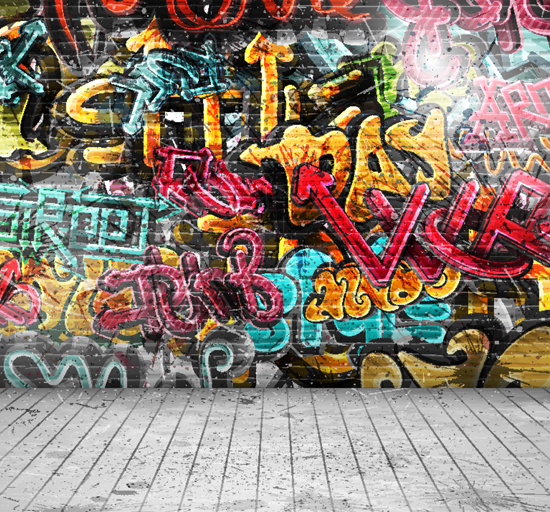 HUAYI 8x12ft Art fabric Graffiti Wall Backdrop Photography For Newborn Drop Background XT-2399<br>