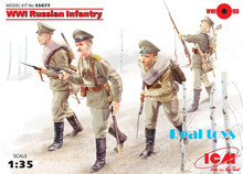 New Arrivial! ICM model 35677 1/35 WWI Russian Infantry, (4 figures) plastic model kit(China)