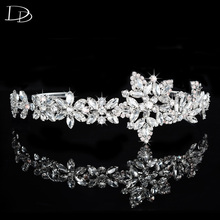 simulated rhinestone design hair wedding jewelry bridal diadem women romantic crown white gold color round flower jewels F037