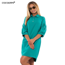 Buy COCOEPPS Autumn Winter New women Dresses Casual Plus Size Loose Ladies Office Dress Big Size Three Quarter Blue Vestidos 5XL 6XL for $13.98 in AliExpress store
