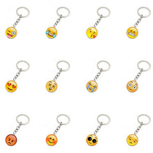 Lovely Smile Face Keychains Cute Emoji Glass Gem Pendants Kids Cartoon Toys Children Birthday New Year Gift Party Favors