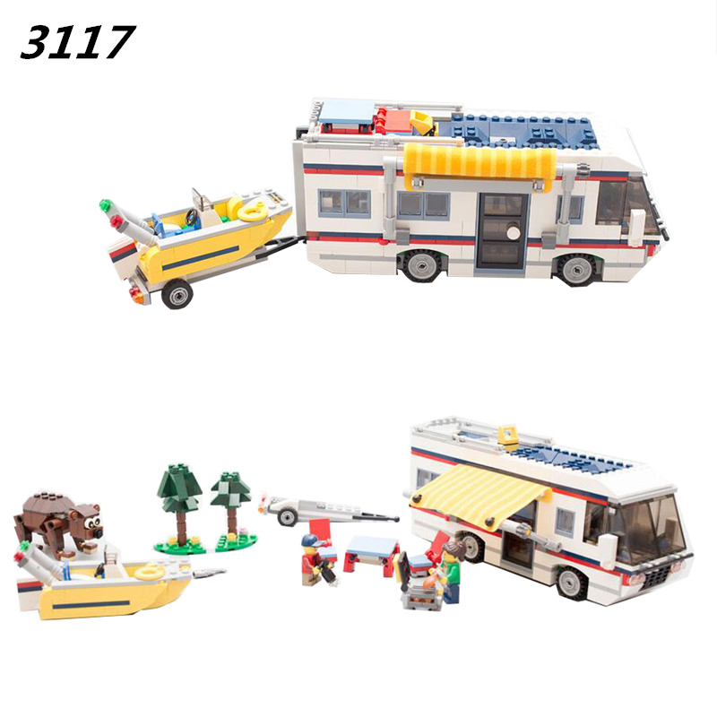 DECOOL 2017  3117 Vacation Getaways Camper Summer home Architect 3 in 1 Building Block Set 2 Mini Dolls Kids model Toys 31052<br>