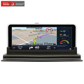 Junsun 6.5 pulgadas dvr del coche de visión trasera de navegación gps android 4.4 con DVR Registrador de la Cámara FM WIFI Sat nav Navigator retrovisor cámara