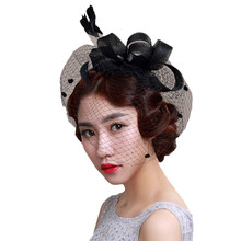 Fashion Headwear Women Fascinator Hat Cocktail Wedding Party Church Headpiece Headband Fancy Feather Hair Accessories(China)