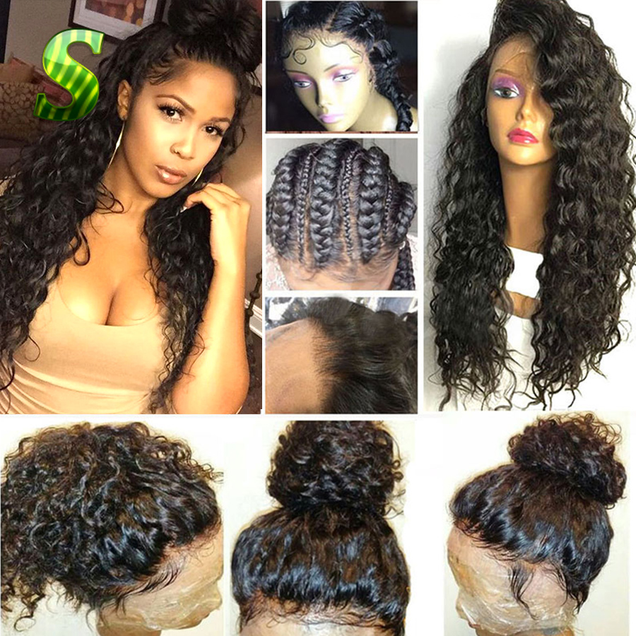 Human Hair Curly Wigs Brazilian Virgin Hair Curly Full Lace Wigs For Black Women Glueless Full Lace Front Wigs With Baby Hair<br><br>Aliexpress
