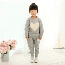 Baby Girls Clothes Autumn Winter Costume Heart Pattern Long sleeve t-shirt + Pant Children Clothing Kid Suit Girls Clothes Set(China)