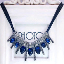 2017 New Hot! Fashion Blue diomands rhinestone gem crystal peacock feather rope statement necklace fashion Free shipping(China)
