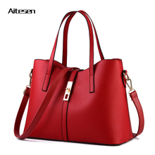 Handbags 2016 high quality women big smooth shoulder bag charm luxury PU leather female tote Inclined shoulder bag for women(China)