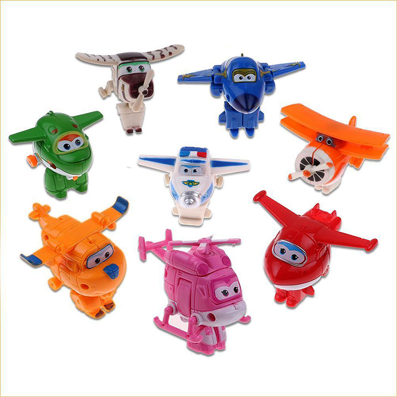 8pcs/set MINI Airplane Anime Super Wings Model toy Transformation Robot Action Figures superwings toys for Children Kids 16