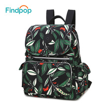 Findpop Large Capacity Floral Backpacks Women 2017 Multifunctional Green Leaves Print Mummy Backpack Waterproof School Backpack(China)