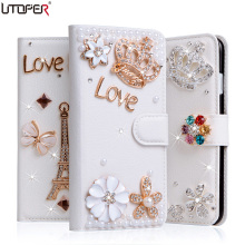 Luxury Diamond Coque For Sony Xperia XA1 Case Rhinestone Wallet PU Leather Cover For Sony Xperia XA1 Handmade TPU Fundas Case(China)