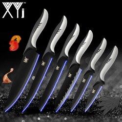 XYj кухонные принадлежности для варки, нержавеющая сталь ножи инструменты черное лезвие для очистки овощей утилита сантоку шеф-повара нарез...