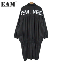 [EAM] 2018 spring trendy new black letter print batwing sleeve loose large size turn-down collar fashion dress women tide F95(China)