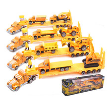 Best kids Birthday Gift 4pcs/lot Metal and Plastic Engineering Truck vehicles Model toys
