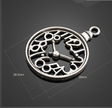 Hot selling 4 Pieces/Lot 28.5mm*39mm Antique Silver Plated metal Clock charm pocket watch charm pandent for jewelry making