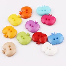 100pcs Mixed Color Apple Plastic Button Baby Sewing Button Decoration / Sewing / Craft / Scrapbook Accessories 16*14mm(China)