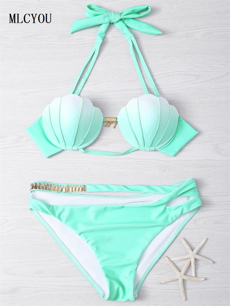 summer new 2017 Halter plus up Two Piece swimsuit Sexy Green purple shell bikini top swimwear Europe womens swimming suit<br><br>Aliexpress