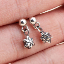 100% Solid Sterling Silver 925 Star David Charm Drop Earring Men Women Retro Antique Silver 925 Cool Personality Jewelry(China)