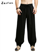 ZAITUN Men Linen Cotton Pants Chinese Traditional Style Straight Pleated Male Pants Casual Loose Hip Pop Brand Trousers(China)