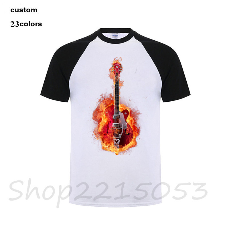 2018 New guitar Men t shirt black custome clothing t-shirt male fitness music DJ club park tshirt para clothes camisas game logo
