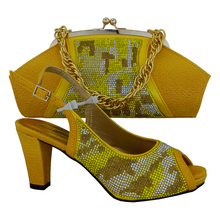 Delicate smart shoe Italian shoes and bags matching set deliveried by DHL free gold with yellow color African ladies shoes