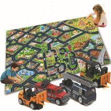Traffic Scene Mats With One Toy Model Alloy Car Big Size 80CM*70CM Cloth Material Six Scene Kids Toy Game Mats Toys For Children