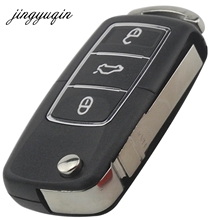 jingyuqin Flip Folding 3 Buttons Remote Car Key Shell Fob Case For Volkswagen VW Jetta Golf Passat Beetle Polo Bora no logo(China)
