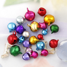 Wholesale100pc/50pc 6/8/10/12MM Mix Colors Loose Beads Small Jingle Bells Christmas Decoration Gift Colorful DIYCrafts Handmade(China)