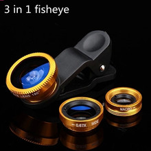 Original Wide-Angle Macro Fish eye 3 in 1 Phone Lens with Universal Clip for homtom ht3 ht17 ht7 ht16 Pro cell phones Len Lentes