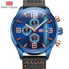 2017 Popular Navy Blue Multifunctional Sports Watch Men Chronograph 6 Hands 24 Hours Genuine Leather Men Watches reloj deportivo(China)