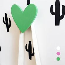 1Pc Heart Cute wooden clothes hook for kids room wall decorate children room friendly heart hanger hook baby room decoration A45