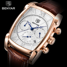 BENYAR Classic Rectangle Case Fashion Sport Chronograph Men's Watches Waterproof 30M Genuine Leather Strap Luxury Quartz Watch(China)