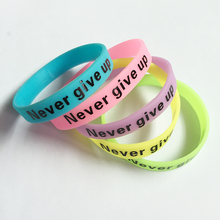 New Fashion Silicone Rubber Bracelet Never Give Up Print Glow in the Dark Luminous Sport Wristband