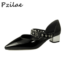 Plus size 32-43 Hot sale 2017 new elegant design woman Mary Jane pointed toe rivets buckle strap chunky heels dress pumps shoes