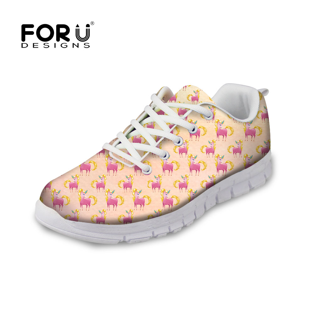 FORUDESIGNS Autumn Women Casual Breathable Flat Shoes Hot Sale 3D Unicorn Printed Lace-up Leisure Shoes Woman Flats Comfortable <br>
