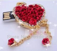 Christmas gift100% real capacity Hot sales rose heart jewelry usb flash drives 8GB 16GB 1pcs S56(China)