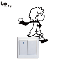Cute Little Prince Switch Sticker Cartoon Vinyl Wall Stickers for  Kids Room Home Decor