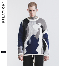 INFLATION 2017 New Winter Couples Sweaters Long Sleeve O-Neck Slim Fit Hip-Hop Camouflage Men Casual Sweater 219W17(China)