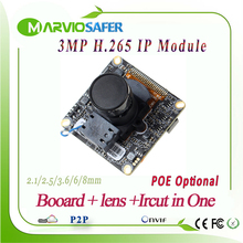 New 3MP 2048*1536 Realtime H.265/H.264 CCTV Network IP Camera Board Module p2p 3516D Chipset, Onvif POE Optional